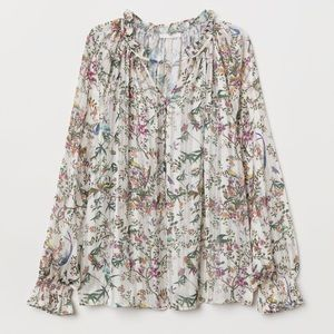 H&M Smocked Blouse with Birds and Florals